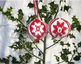 Red and White Christmas ornaments, set of 2