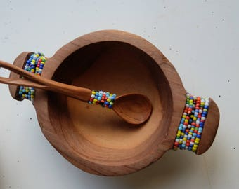 Wooden Bowl and Spoon Set with Beaded Accents