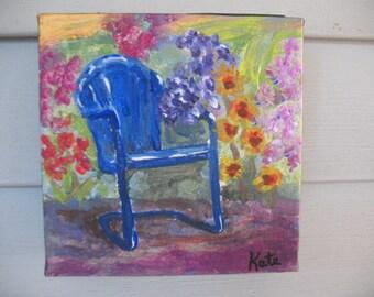 Original painting - Original Art - Impressionist art - Garden painting -  6 x 6 inch painting on canvas -  Blue chair