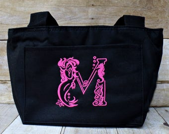 Mermaid letter monogrammed lunch tote, personalized mothers day gift , insulated lunch bag insulated lunch tote, lunch box, lunch work bag
