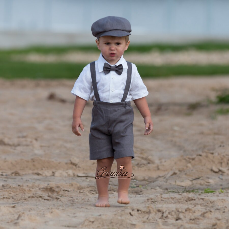 Ring bearer newsboy outfit Baby boy gray linen suit Wedding