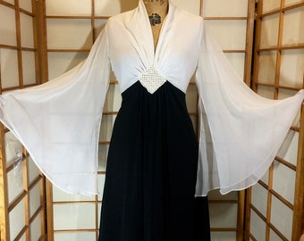 Angel Wing Flare Sleeve Dress-- Maxi 70s Black and White Saturday Night Fever M/L Boho Hippy Disco