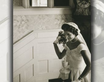 Poster, Many Sizes Available; Jacqueline Kennedy Throwing The Bouquet At Her First Wedding