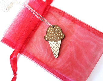 Wood ice cream sugar cone necklace ~ Chocolate, bff necklace, ice cream cone pendant necklace, Laser cut and engraved from birch wood,