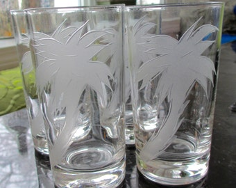 Set of 4 Vintage Federal Glass Etched Palm Tree Highball Glasses