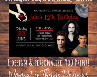 Personalized Twilight Saga Bella Edward Cullen Jacob Birthday Party Invite Invitation Digital Printable