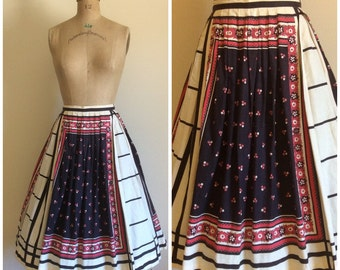 1950s Alex Colman Novelty Print Skirt 50s Border Print Cotton