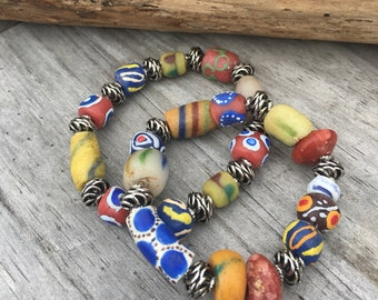 African Trade Bead Bracelet Set