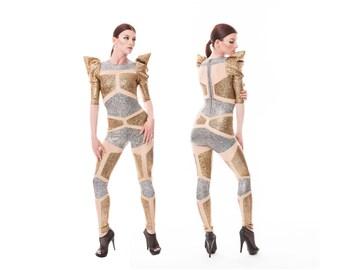 Futuristische Roboter Catsuit, Silber Gold Overall, holographische Body, luftige Seiden, brennen Mann Outfit, Bühne tragen, Dancewear, LENA QUIST