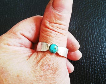 Turquoise & Sterling Silver Thumb Ring, 6mm Natural Turquoise, Mens Ring, Womens Ring, Ring Size 12, Artisan Ring, Handmade in the USA