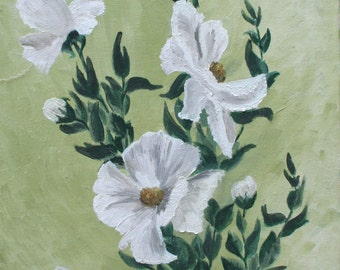 Vintage Floral Oil Painting on Canvas