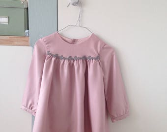 Girls dress, girl winter dress, dress girl in pink nude, stylish baby dress, size 18 and 24 months