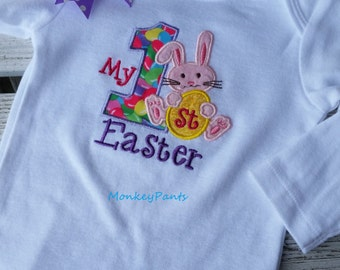 My 1st Easter Outfit - Boy or Girl 1st Easter Bodysuit  - Baby Easter Outfit - Easter Bunny Bodysuit - Photo Prop