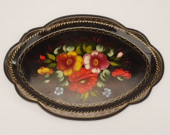 Antique french Tole Tray Hand painted Black with Flowers and Scalloped Edge Theme