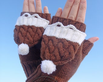 Convertible Mittens Gloves,Mittens-Gloves,Hand warmers,cap with pom pom,button cat,Merino wool
