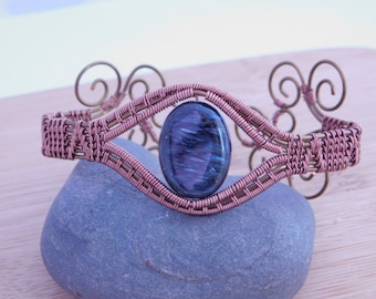 Black Blue Oval Pietersite Bead Bracelet Vintage Bronze Antique Copper Parawire Wire Wrapped Handmade Mixed Metal Handmade Weave Cuff