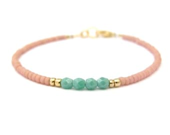 Turquoise Bracelet Dusty Rose Minimal Modern Southwestern Design Spring Summer Easter Jewelry