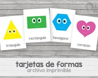 Printable kid's shape flashcards, spanish