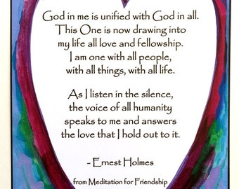 God In Me Is Unified ERNEST HOLMES Oneness Inspiration Science of Mind Friend Quote Spiritual Meditation Heartful Art by Raphaella Vaisseau
