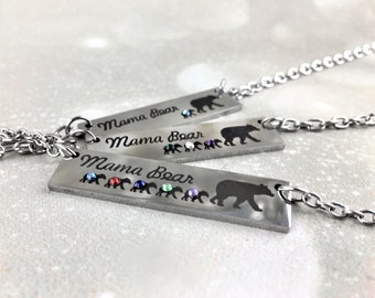 Mama Bear Gift For Mom Mothers Day Gift For Wife Silver Bar Necklace Custom Birthstone Jewelry Mamma Bear and Cubs Christmas Gift For Mom