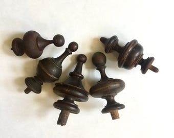 Wooden Finial Collection , Five total, Shabby Chic, Ca: 1910.