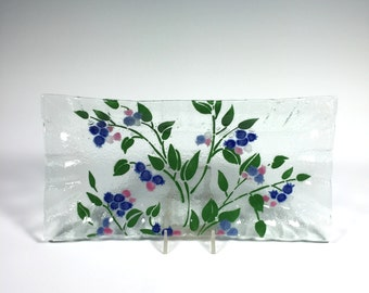 Blueberry Serving Tray, Fused Glass Dish, Blueberries, Fruit Decor, Blueberry Design