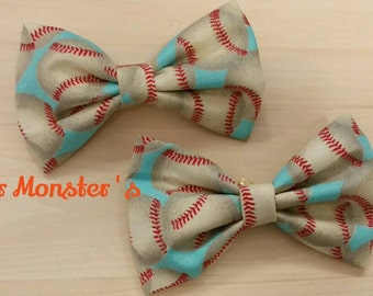 Boys Baseball Bow Tie in Cotton, Sports Themed Bow Tie, Ring Bearer Tie, Groomsmen Tie, Graduation Bow Tie, Clip on Bow Tie