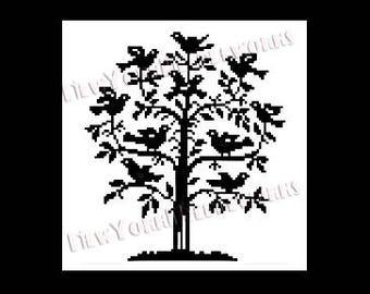 Birds Cross Stitch, Birds in Tree Cross Stitch, Birds Silhouette, Crochet Bird, Cross Stitch Silhouette, Birds from NewYorkNeedleworks Etsy