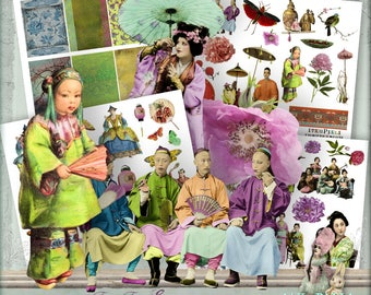 FarFarEast  - 4 x Digital Collage Sheet ATC .png - itKuPiLLi _Printable, Instant Download
