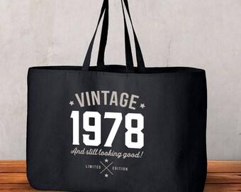 40th Birthday, 40th Birthday Idea, Great 40th Birthday Present, 40th Birthday Gift 1978 Birthday, 40th Birthday Bag, Tote, Shopping Bag