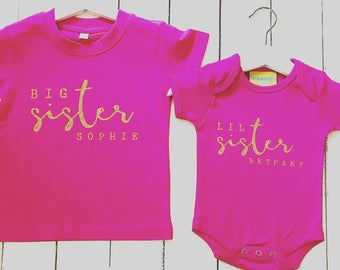 Personalised Kids TShirt | Personalised Kids Clothing | Sisters Shirt | Gift ideas for kids | Gift ideas for Baby | Kids Fashion
