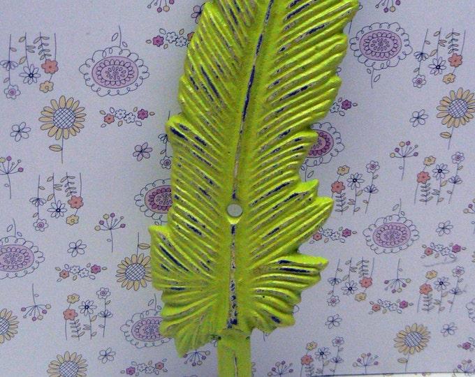 Feather Cast Iron Boho Wall Hook Shabby Chic Retro Lime Green Bohemian Home Decor
