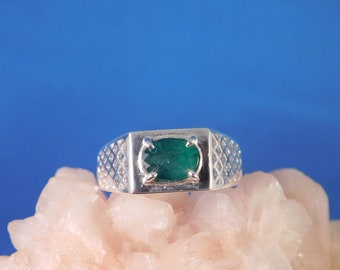 Gents 1.17 ct. Oval Columbian Emerald with Lattice Weave Style Sterling Silver Ring