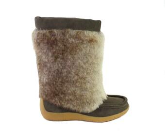 Women's Outdoor Faux Fur Mukluks Winter Boots Size 7