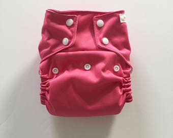 CLEARANCE - Candy Pink OS PUL Pocket Diaper - Snap Down Rise - Organic Bamboo Prefold Insert
