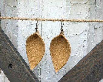 Tan Handcrafted Leather Leaf Earrings