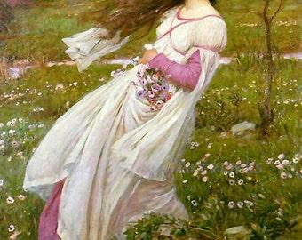 "John William Waterhouse ""Windswept"" Wildflowers Field 1902 Reproduction Digital Print"