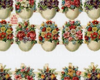 Vintage German Die-cut Scrap - Eggs & Flowers