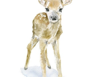 Deer Fawn Watercolor Painting - Giclee Print Reproduction - 8x10 / 8.5x11 - Nursery Art Woodland Animal