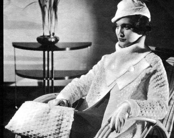 1930s Knitting + Crochet Pattern- Coat, Hat, & Bag- PDF Pattern Download