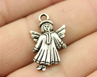6 Angel Charms, Antique Silver Tone Charms (1B-82)