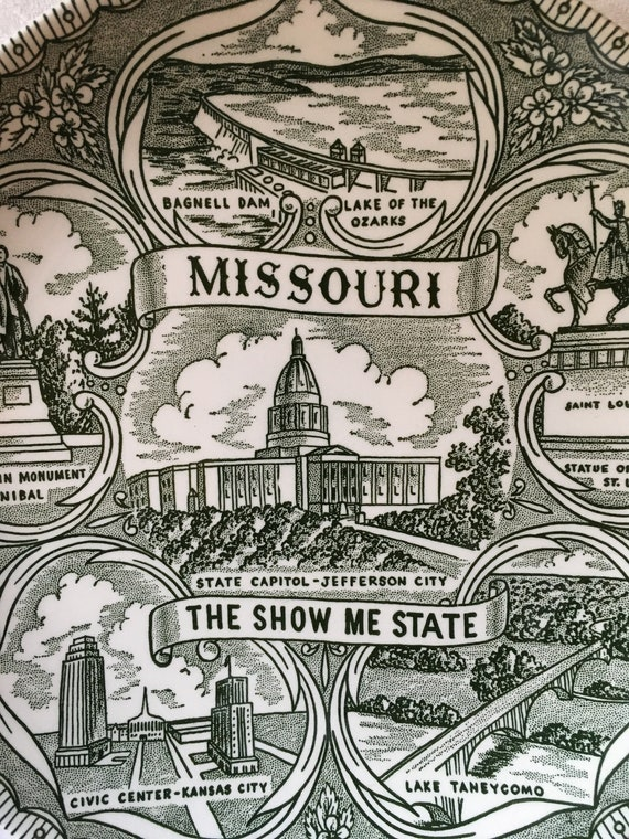 "Missouri- The Show Me State Green Transferware Collectible 9 1/2"" Plate"