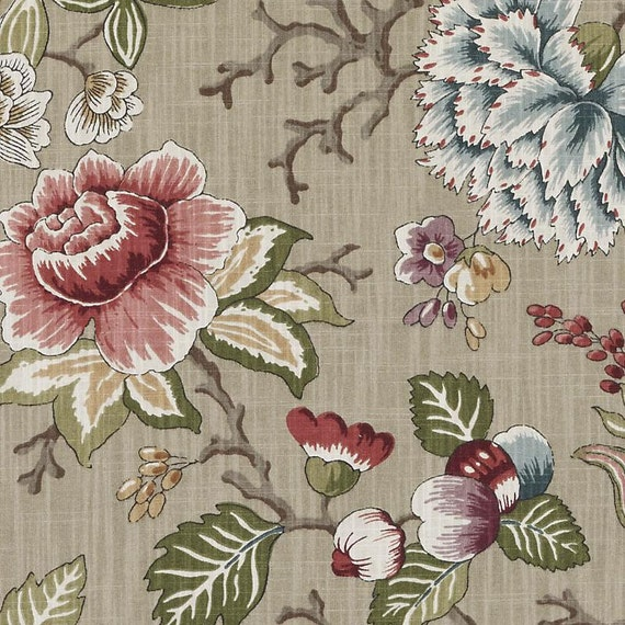 Sage Green Floral Upholstery Drapery Fabric Pink Green