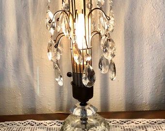 Glass Lamp / Vintage Boudoir Electric Lamp / Brilliant Crystal Cut Glass Lighting / Romantic Bedroom Lighting