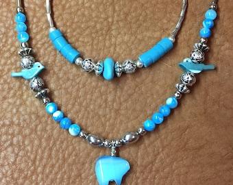 Glass Bear & Liquid Silver Necklace