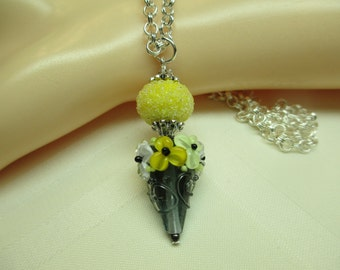 Yellow and Slate Grey Lampwork Bead Pendant Necklace