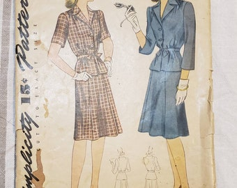 1940s Two Piece Dress or Suit Pattern