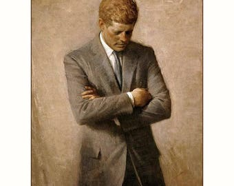 """Presidential portrait in the white house of John F Kennedy, US presidents, presidential portraits, JFK,  11x14"""" cotton canvas art print"""