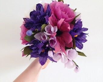 Fuchsia Paper Flower Forever Alternative Bridal Wedding Bouquet