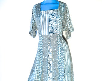 Vintage 80s Sage Floral Dress, Long Maxi Dress, Zashi New Old Stock
